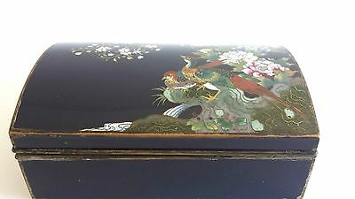 Beautiful Large Antique Japanese Cloisonne Box Birds & Blossoms