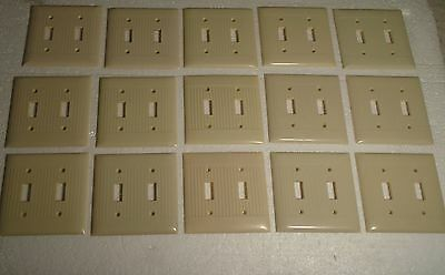 1 Vintage Art Deco Bakelite Ivory Ribbed Double Switch Gang Toggle Plate Covers