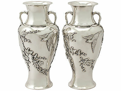Antique Pair of Chinese Export Silver Vases - Circa 1890