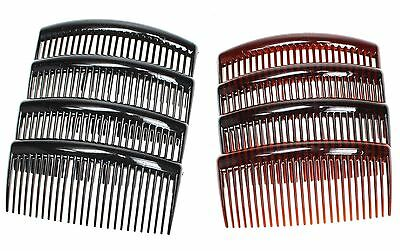 4 Pack 7cm/9cm Tort Brown, Black, Clear Plain Side Hair Combs Slides Grips