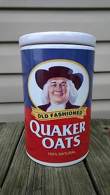 Quaker Oats 120th Anniversary Ceramic Cookie Jar Canister dated 1997 with RECIPE