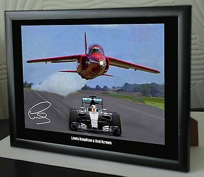 "Lewis Hamilton & The Red Arrows Mercedes Framed Canvas Print Signed ""Great Gift"""