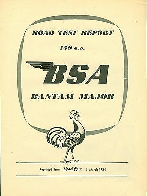 BSA Bantam Major 150cc Road Test 1954