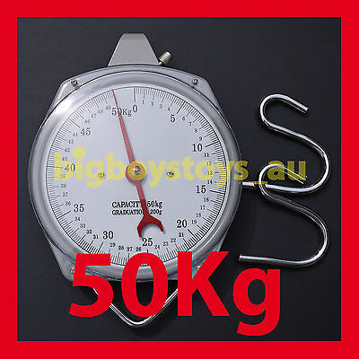 Hanging Scales Mechanical With Hook - 50Kg Capacity - Fishing Butchers Metal