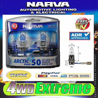 Narva H3 Globes Arctic Plus 50 Adr Apporoved Headlight White Light 48633Bl2 H3