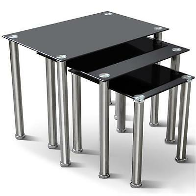 Set of 3 Black Glass Stainless Steel Nesting Tables Coffee Table Side End Tables
