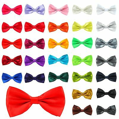 New Satin Mens Pre Tied Fancy Plain Necktie tie Bow ties -Wedding Party Prom
