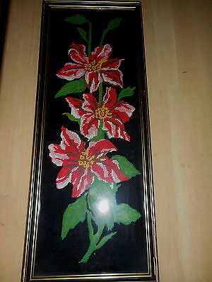 Tapestry Flowers On Black Background Completed & Framed