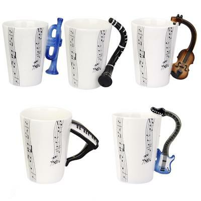 Music Note Printed Porcelain Mug Cup With Instrument Shaped Handle Musician Gift