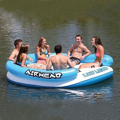 Airhead Lazy Lagoon Inflatable Tube Lounging Floating Island for pools & beach