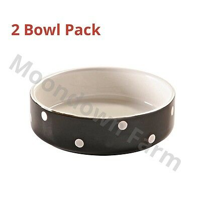 2 x Cat Bowls Mason Cash Black Polka Dot 13cm Ceramic High Quality Heavy Bowls