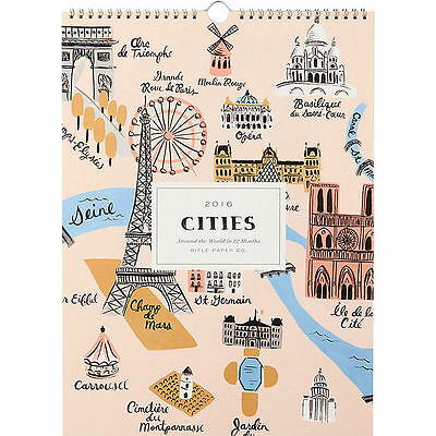 """New/Sealed! Rifle Paper Co. 2016 Cities Wall Calendar (15"""" x 11"""")"""