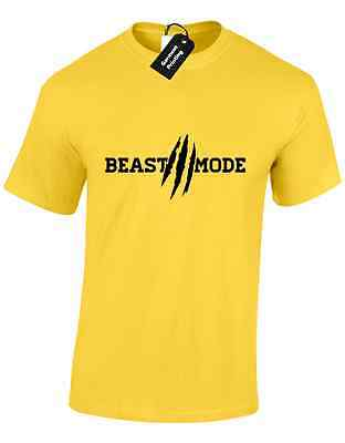 Beast Mode Mens T Shirt Gym Weights Lifting Training Fitness Bodybuilding Top