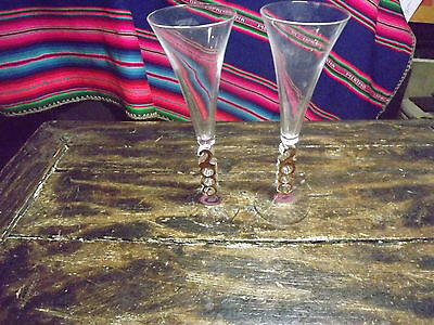 A Pair Of Preowned Millennium 2000 Glass Wine Champagne Flutes 10In Tall