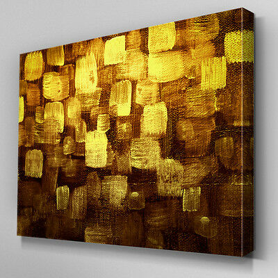 Ab1013 Modern Gold Yellow Brown Canvas Wall Art Abstract
