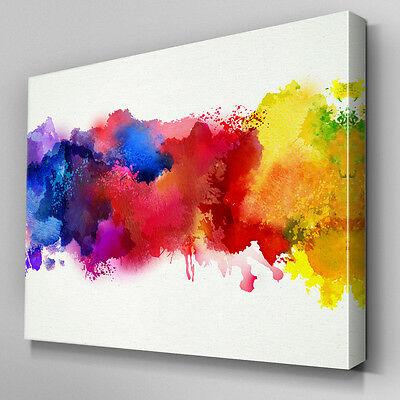 AB948 Multi colour paint splatter Canvas Wall Art Abstract Picture Large Print & AB948 MULTI COLOUR paint splatter Canvas Wall Art Abstract Picture ...