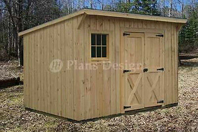 7' x 12' Modern Storage / Lean-To Garden Shed Plans, Design #80712