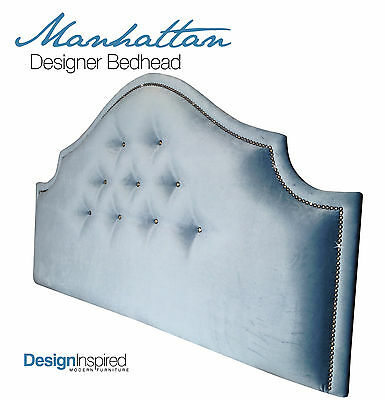MANHATTAN DELUXE Upholstered Bedhead for Double Ensemble - Wedgewood Blue