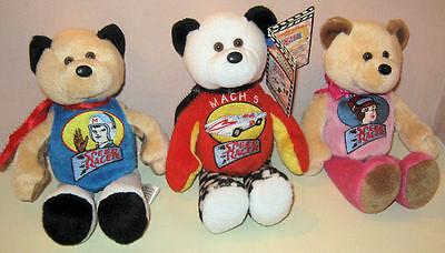 Speed Racer Set of Three Embroidered Bears Speed, Trixie & Mach 5 2000