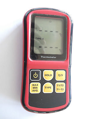 Dual Input Thermometer Thermocouple Type K ,j ,t ,s ,e ,n ,r ,s With 2 Probes