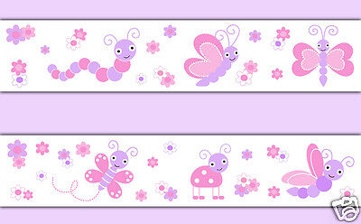 Butterfly Wallpaper Border Wall Art Decal Pink Purple Baby Girl Nursery Stickers