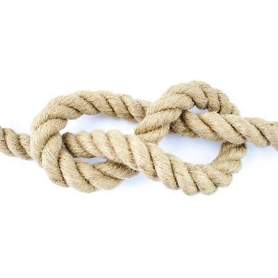 50mm JUTE ROPE impregnated natural fibre laid twisted three strands decoration