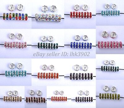 100Pcs Czech Crystal Rhinestone Silver Rondelle Spacer Beads 6MM 7MM 8MM