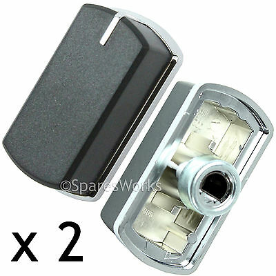 2 x Switch Knob for BELLING 444449565 444449566 Hob Oven Black Silver 083240900