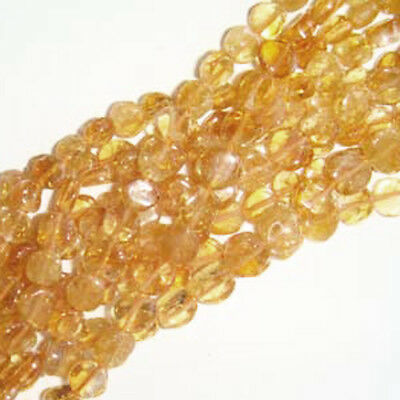 Strand Of 45+ Golden Citrine Approx 5-6mm Handcut Coin Beads DW1095