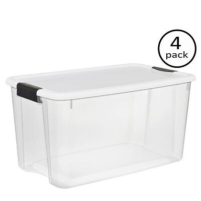 New 70 Quart Sterilite Plastic Clear Storage Box Organizer Case Container 4-Pack