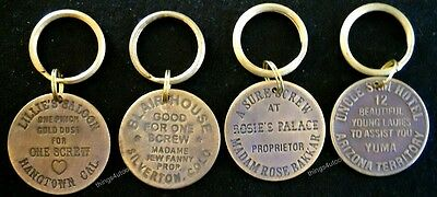 Keychain Hotel Brothel cat house brass tokens 4pc #K4