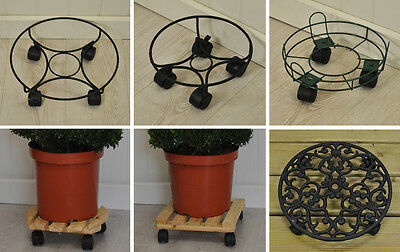 Gardman Wheeled Wooden Metal and Cast Iron Plant Pot Trolley Mover Caddies