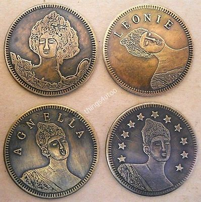 Hotel Brothel cat house brass tokens 4pc #4