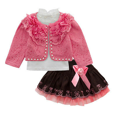Toddler Girls 3PC Outfit Set Party Casual Suit Size 1-5 Years Jacket+Top+Dress !