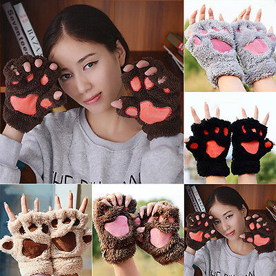 Shiny Bear Paw Fluffy Plush Glove Winter Half Covered Soft Toweling Mittens