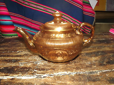Antique Copper Gold Luster Pottery Teapot, Hit You In The Eye Bright 10 In Long
