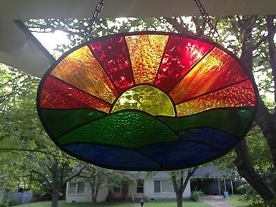 Sunset Stained Glass Window Panel Suncatcher in Stunning Colors 14x9
