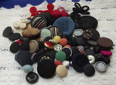 Lot of Mixed Fabric Buttons - most pad backs (365)