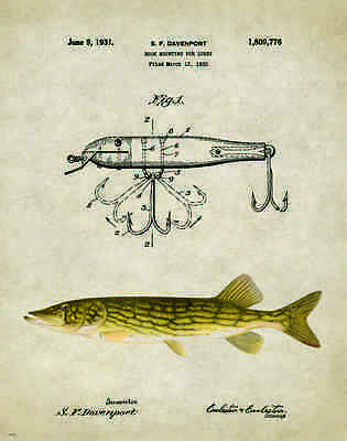 Fishing Lure Patent Poster Art Print Antique Northern Pike Muskie  Fish PAT157