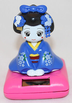 Solar Bobblehead Toy Figure, Maiko - Sitting Blue Geisha