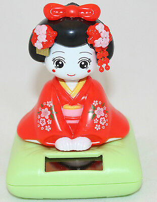 Solar Bobblehead Toy Figure, Maiko- Sitting Red Geisha