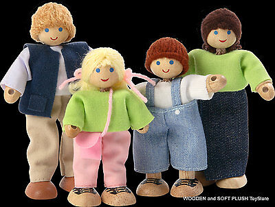 NEW toy gift WOODEN DOLLS HOUSE FAMILY MUM DAD BOY GIRL