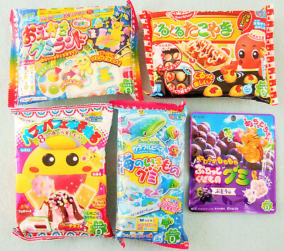 5 PCS SET Japanese Candy Kit Kracie poppin cookin Ramune, Oekaki Gummy Land
