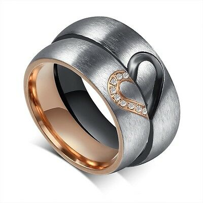CZ Titanium Steel Couple Rings Forever Love Heart Brushed Wedding Promise Band