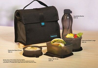 Brand New Tupperware Satchel Lunch Set - Black - With Keep Tabs And 500ml Bottle