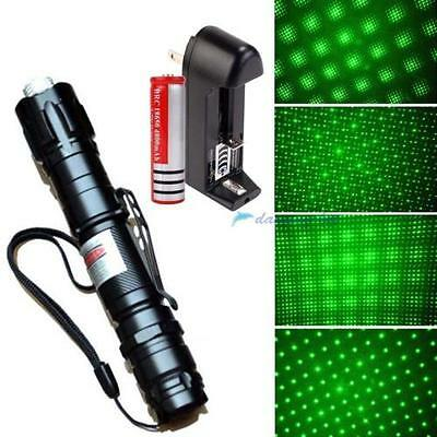 Powerful Green Laser Pointer Pen Beam Light 5mW Lazer Power 532nm+18650+Charger