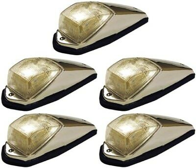 5 Pack of Amber Cab Marker Lights with Clear Lens' with Chrome Base