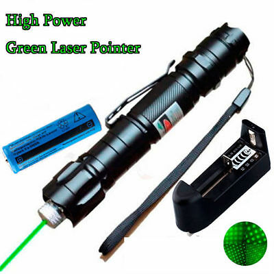 10M Range 532nm Green Laser Pointer Lazer Pen Visible Beam Star Cap+Battery