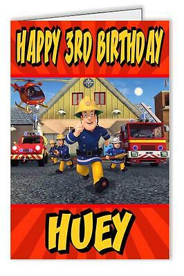 Fireman Sam Design Personalised Birthday Card Any name & age