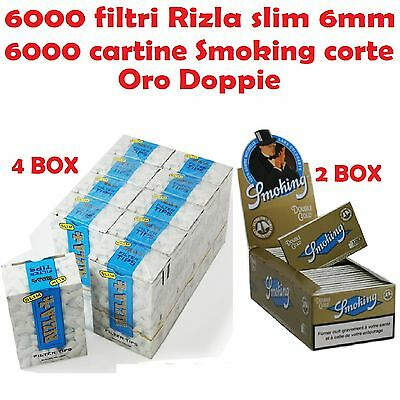 6000 Rizla Filtri Slim + 6000 Smoking Cartine Corte Oro Gold